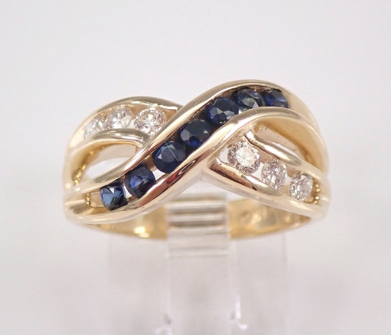 Diamond and Sapphire Wedding Ring Crossover Anniversary Band 14K Yellow Gold Size 6 September Gemstone FREE Sizing