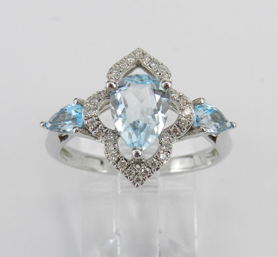 Aquamarine Ring, 14K White Gold Diamond Ring, Aquamarine and Blue Topaz Ring, Engagement Ring, Unique Ring, Size 7.25