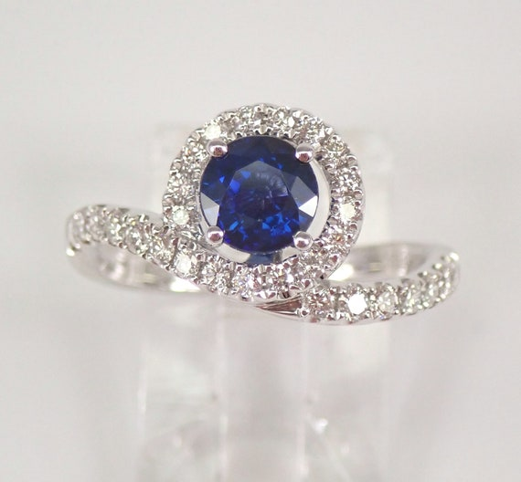 18K White Gold Diamond and Sapphire Halo Engagement Ring Size 6.5 Unique Style FREE Sizing