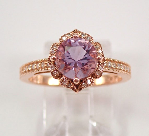 Diamond and Amethyst Halo Engagement Ring 14K Rose Gold Size 7 Rose de France