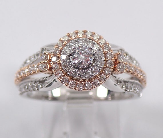 White and Rose Gold Diamond Double Halo Engagement Ring Size 7 Modern Cluster Design
