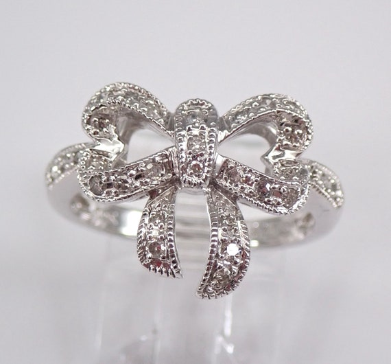 Diamond Bow Tie Ring Promise Cluster Ring White Gold Present Gift Size 7