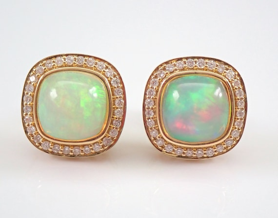 14K Yellow Gold 3.82 ct Opal and Diamond Halo Stud Earrings October Gemstone