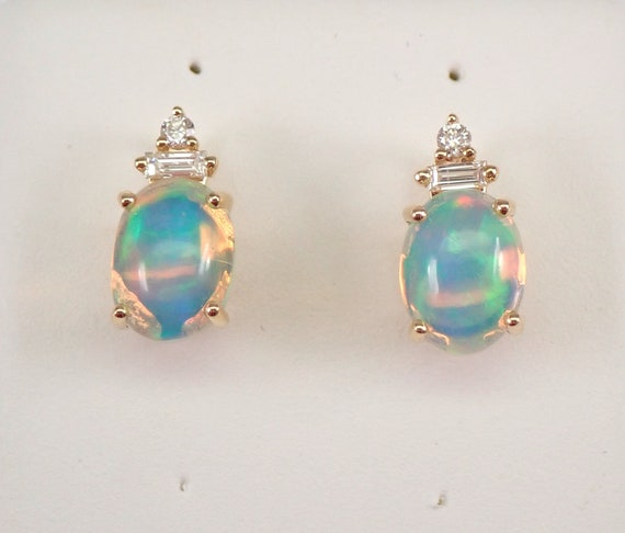 14K Yellow Gold Opal and Diamond Stud Earrings October Gemstone