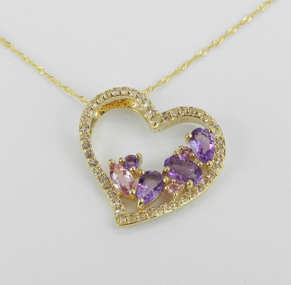 Tourmaline Amethyst White Sapphire Heart Pendant Necklace Chain 14K Yellow Gold