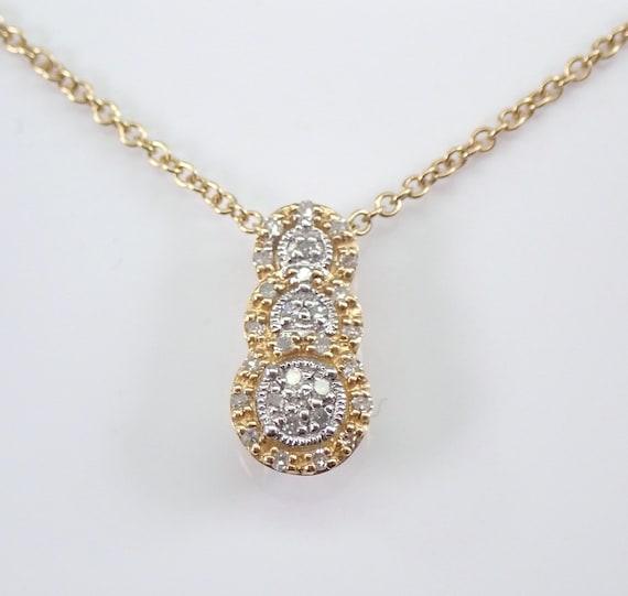 "Yellow Gold Diamond Three Stone Drop Pendant Wedding Necklace Chain 18"""