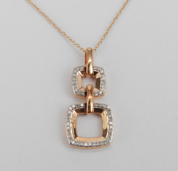 Rose Gold Diamond Pendant, Diamond Drop Pendant, Modern Diamond Necklace, Wedding Gift Necklace Pink Gold Chain 18""