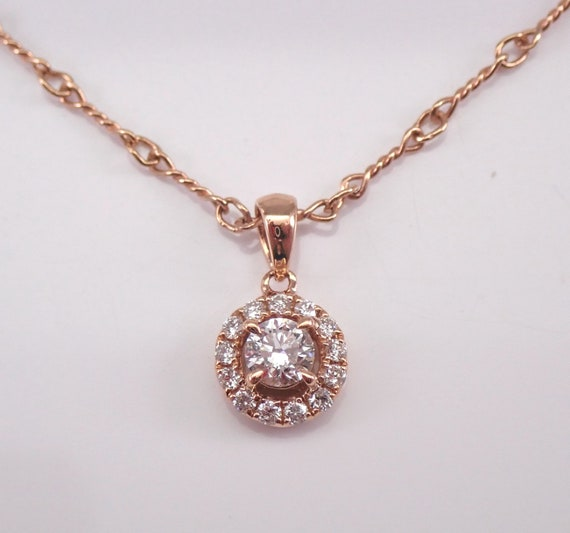 "14K Rose Gold Diamond Halo Solitaire Pendant Necklace Genuine Natural 20"" Dogbone Chain"