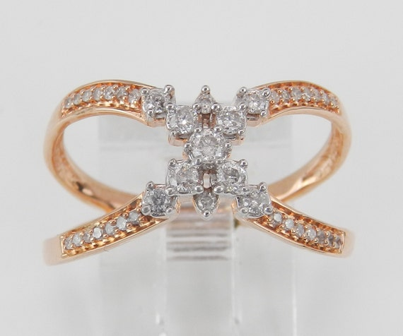 Rose Gold Diamond Crossover Ring Modern Band Size 7 Pink Gold Cluster Right Hand Ring