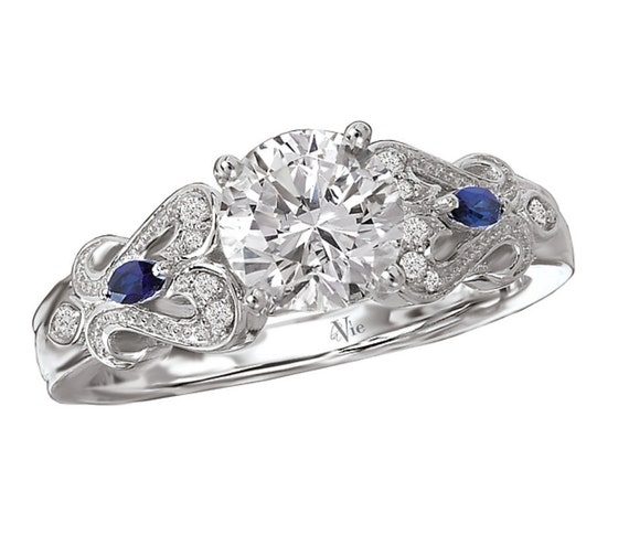 14KT White Gold Diamond and Sapphire Engagement Ring Setting Semi-Mount