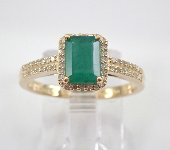 Yellow Gold Diamond and Emerald Halo Engagement Ring Size 7 May Birthstone FREE Sizing