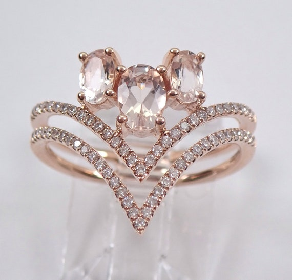 14K Rose Gold Morganite and Diamond Cluster Anniversary V Ring Index Finger Band Size 7 FREE Sizing