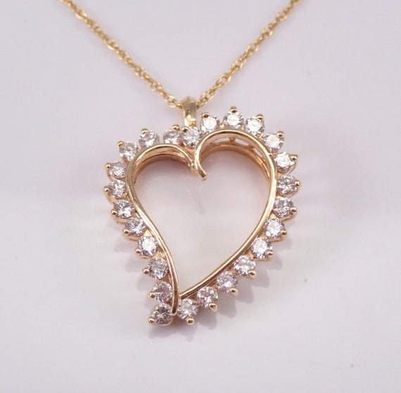 "14K Yellow Gold 1.10 ct Diamond Heart Pendant Necklace 18"" Chain Wedding Graduation Gift Present"
