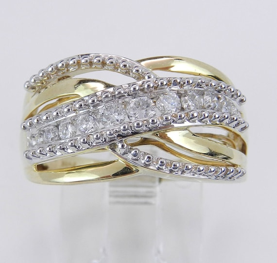 Diamond Crossover Ring, Diamond Anniverary Ring, Multi Row Gold Band, Yellow and White Gold Wedding Ring, Size 7
