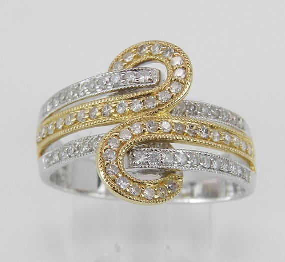 Diamond Anniversary Band Crossover Wedding Ring 14K White Yellow Gold Size 7 FREE Sizing