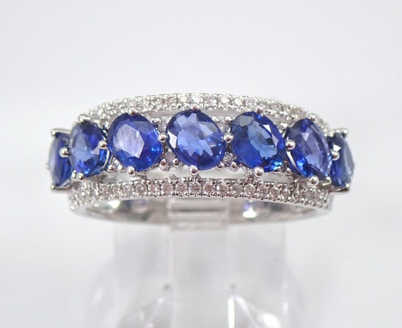 2.57 ct Diamond and Sapphire Anniversary Band Wedding Ring 18K White Gold Size 6.5 September Birthstone FREE Sizing