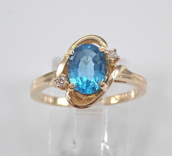 Diamond and Blue Topaz Engagement Ring 14K Yellow Gold Size 6 December Gemstone FREE Sizing