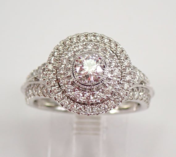 White Gold 1.00 ct Diamond Engagement Ring Double Halo Genuine Natural Size 7 FREE SHIPPING