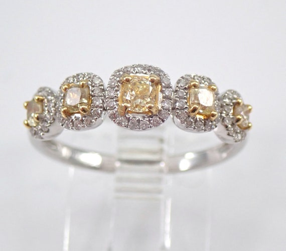 Fancy Yellow CANARY Cushion Cut Diamond Wedding Ring Anniversary Band 18K Gold Size 6.5 FREE SIZING