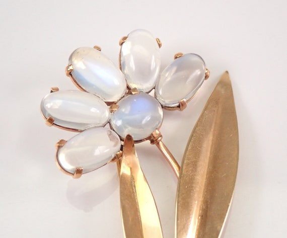 Antique Vintage Binder Brothers 14K Yellow Gold MOONSTONE Flower Brooch Pin
