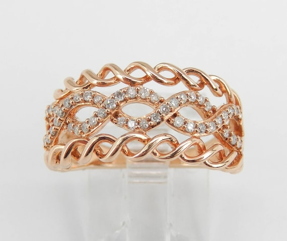Rose Gold Diamond Ring, Multi Row Ring, Right Hand Ring, Diamond Swirl Ring, Diamond Anniversary Band, Size 7 FREE Sizing