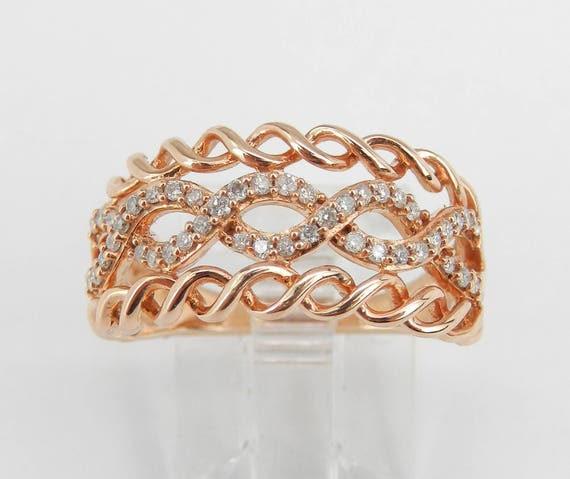 SUPER SALE! Rose Gold Diamond Ring, Multi Row Ring, Right Hand Ring, Diamond Swirl Ring, Diamond Anniversary Band, Size 7 FREE Sizing