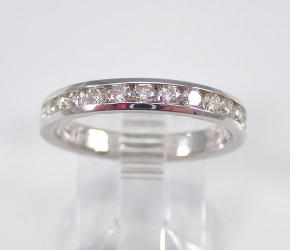 14K White Gold 1/2 ct Diamond Wedding Ring Anniversary Band Stackable Size 7 G-VS FREE SIZING