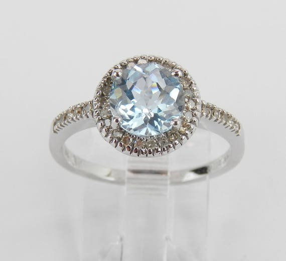 SUPER SALE! Blue Topaz Engagement Ring, Diamond and Blue Topaz Ring, Halo Engagement Ring, White Gold Topaz Ring, FREE Sizing