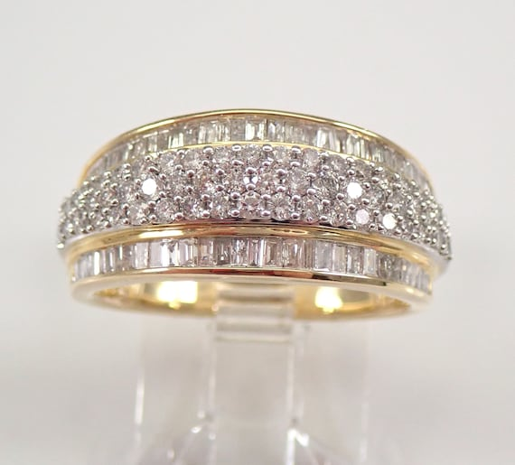 1.00 ct Round Baguette Diamond Wedding Ring Anniversary Band Yellow Gold Size 7 FREE Sizing