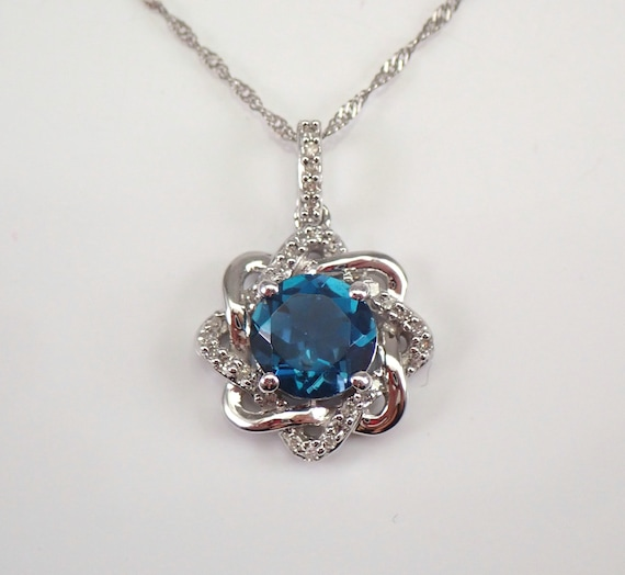 "White Gold London Blue Topaz and Diamond Halo Pendant Necklace 18"" Chain"