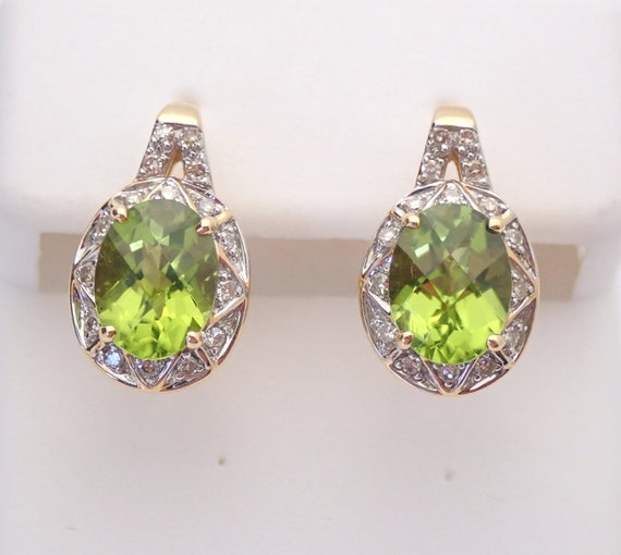 14K Yellow Gold Peridot and Diamond Cluster Earrings Leverback Clasp August Gem