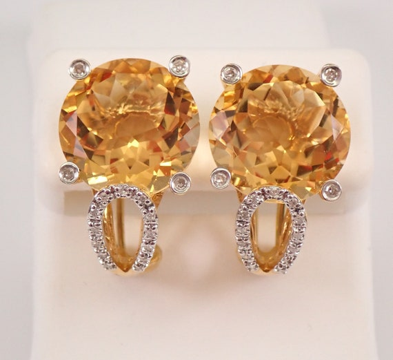 14K Yellow Gold 18.05 ct Citrine and Diamond Earrings November Birthstone Omega Clasp