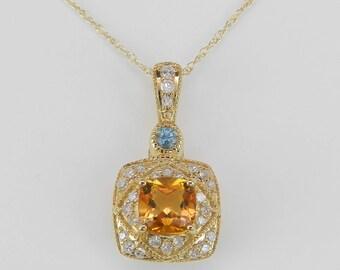 "Diamond Citrine Blue Topaz Necklace Pendant 14K Yellow Gold Chain 18"""