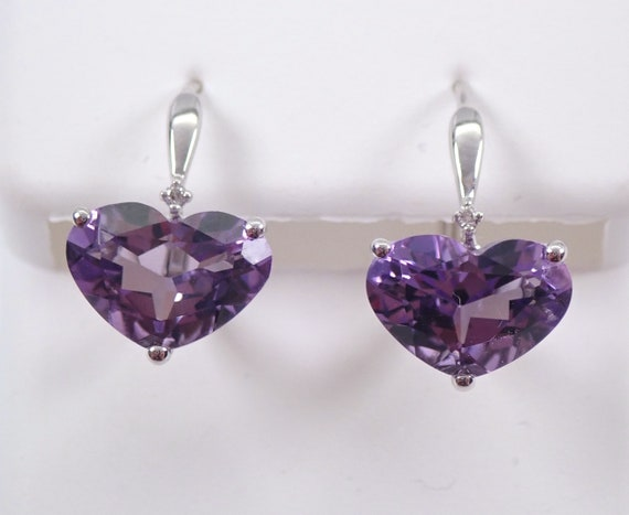 14K White Gold Diamond and Heart Amethyst Drop Earrings February Birthday Leverback