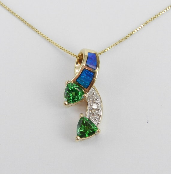 Opal Inlay Necklace, Tsavorite Garnet Necklace, Yellow Gold Slide, Diamond and Opal Pendant, Trillion Green Garnet Necklace