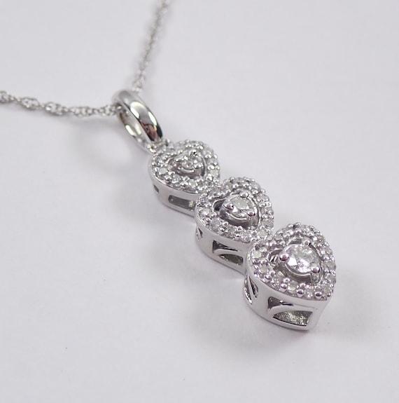 "Diamond Three Stone Cluster Pendant White Gold Heart Wedding Necklace Chain 18"" Past Present Future"