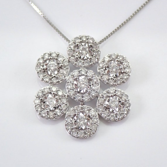 "Diamond Flower Necklace 1.00 ct Cluster Halo Pendant White Gold 18"" Chain"