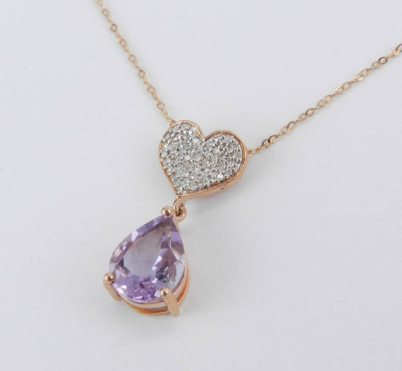 "Heart Diamond Cluster and Amethyst Drop Pendant Necklace 18"" Chain 14K Rose Gold"