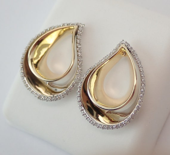 14K White Yellow Gold Diamond Teardrop Cluster Drop Modern Fashion Earrings