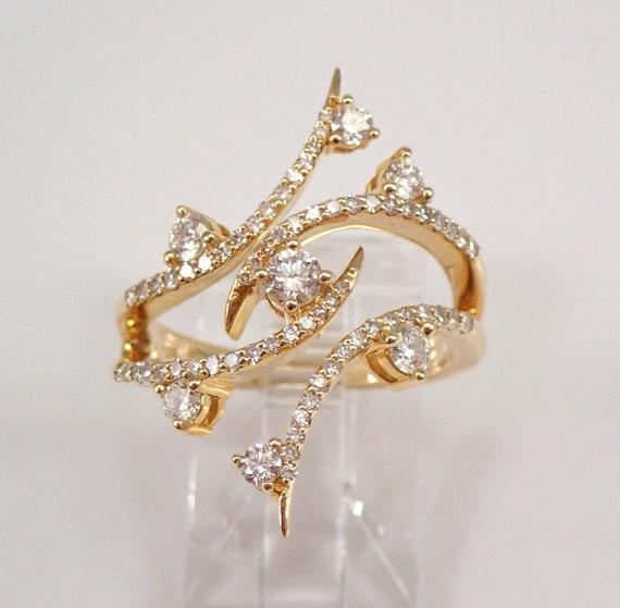 14K Yellow Gold 1.00 ct Diamond Fashion Ring Modern Design Size 6.75 F/G SI1 FREE Sizing