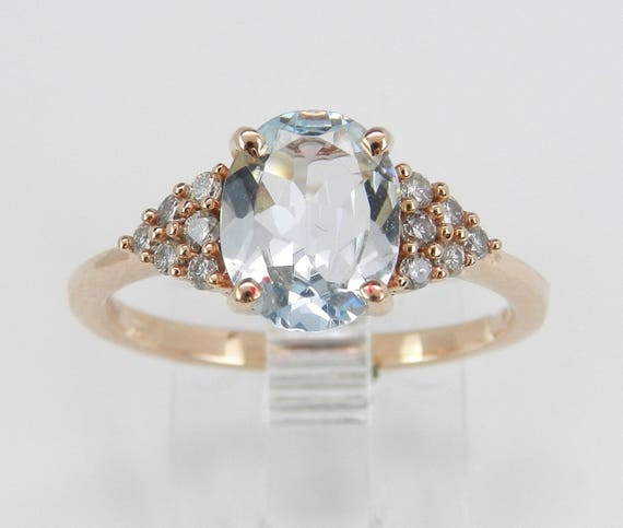14K Rose Pink Gold Diamond and Aqua Aquamarine Engagement Promise Ring Size 7