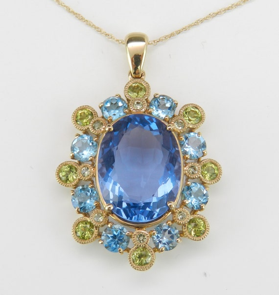 Blue Topaz and Peridot Pendant, Flower Necklace, Yellow Gold Chain, August and December Birthstone, Blue and Green Gemstones