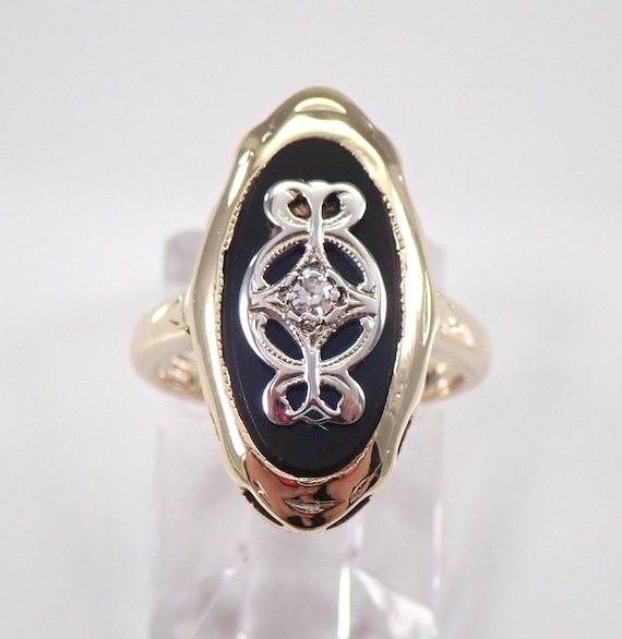 Antique Vintage Onyx and Diamond Ring 14K Yellow Gold Circa 1930's Pinky Ring