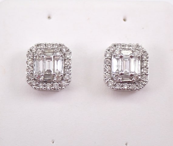 14K White Gold Diamond Studs Cluster Halo Stud Emerald Cut Earrings Screwbacks Wedding Gift