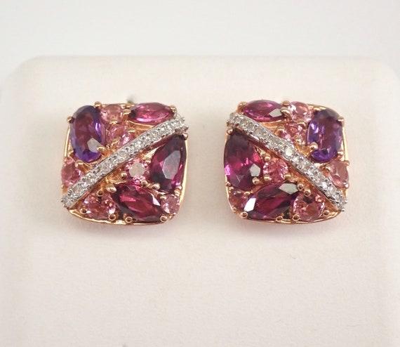 Rose Gold Diamond and Multi Color Gemstone Cluster Stud Earrings Garnet Amethyst Topaz Studs