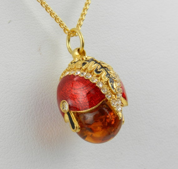 "18K Yellow Gold over Sterling Silver Red Enamel and Amber Swarovski Crystal Pendant with Chain 18"" Faberge Style Egg"