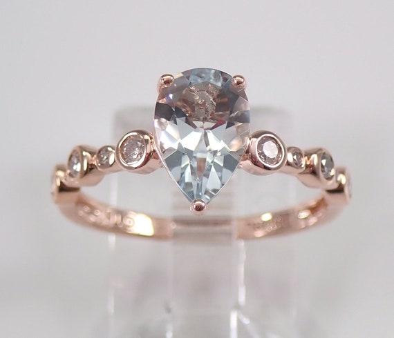 Rose Gold Diamond and Aquamarine Engagement Aqua Pear Shape Ring Size 7 March Birthstone