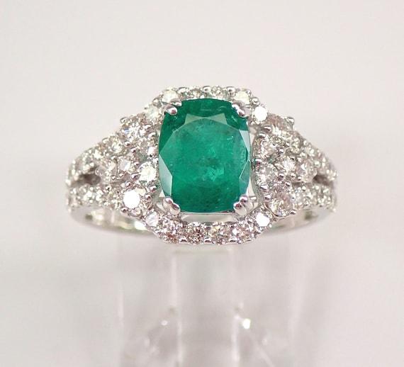 18K White Gold 2.25 ct Diamond and Cushion Cut Emerald Halo Engagement Ring May Gem Size 7 FREE Sizing