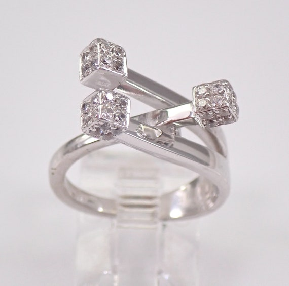 Estate 14K White Gold Cubic Zirconia Puzzle Crossover Ring Size 5.75