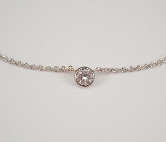 """14K White Gold Diamond Solitaire Pendant Necklace 16"""" Chain Bezel Set"""